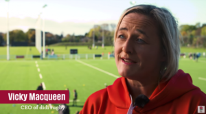 didi rugby CEO Vicky Macqueen appearing in the new RFU video