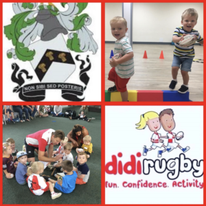 A collage of didi rugby pictures featuring the Old Newtonians logo in the top left hand corner