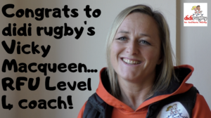 didi rugby CEO Vicky Macqueen smiling after becoming an RFU Level 4 coach