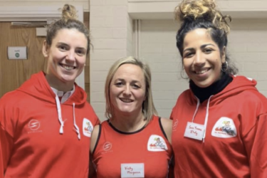 Sarah Hunter (left) stands with Vicky Macqueen and Italy international Sara Tounesi