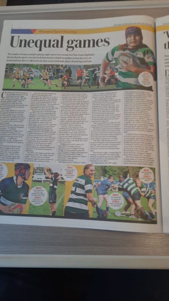 A picture of the page from the Daily Telegraph featuring Caitlin Clark's story