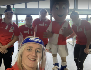 Vicky Macqueen and her team at the launch of didi rugby Worcester with PPE on
