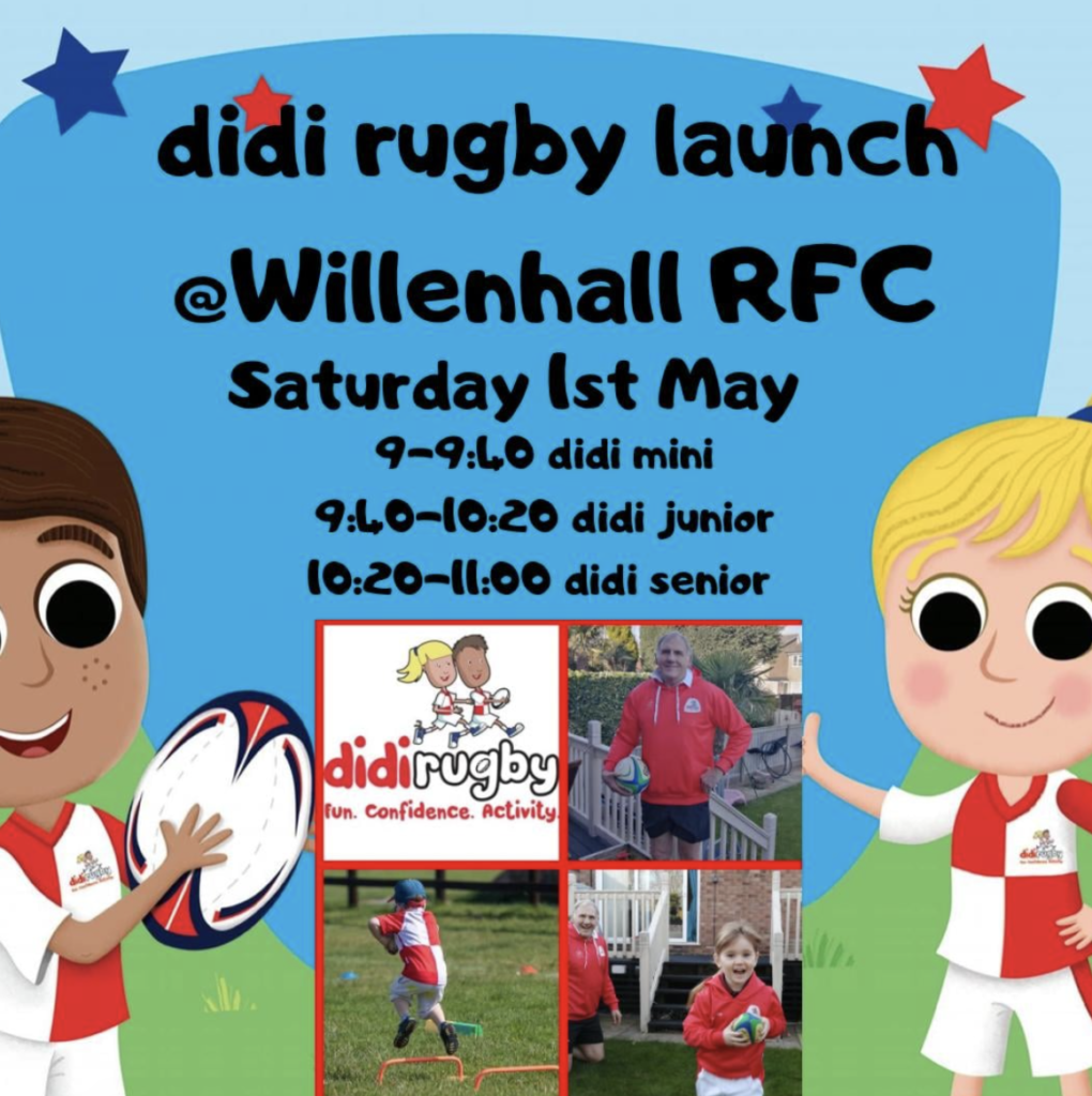 A graphic promoting the launch of didi rugby Willenhall