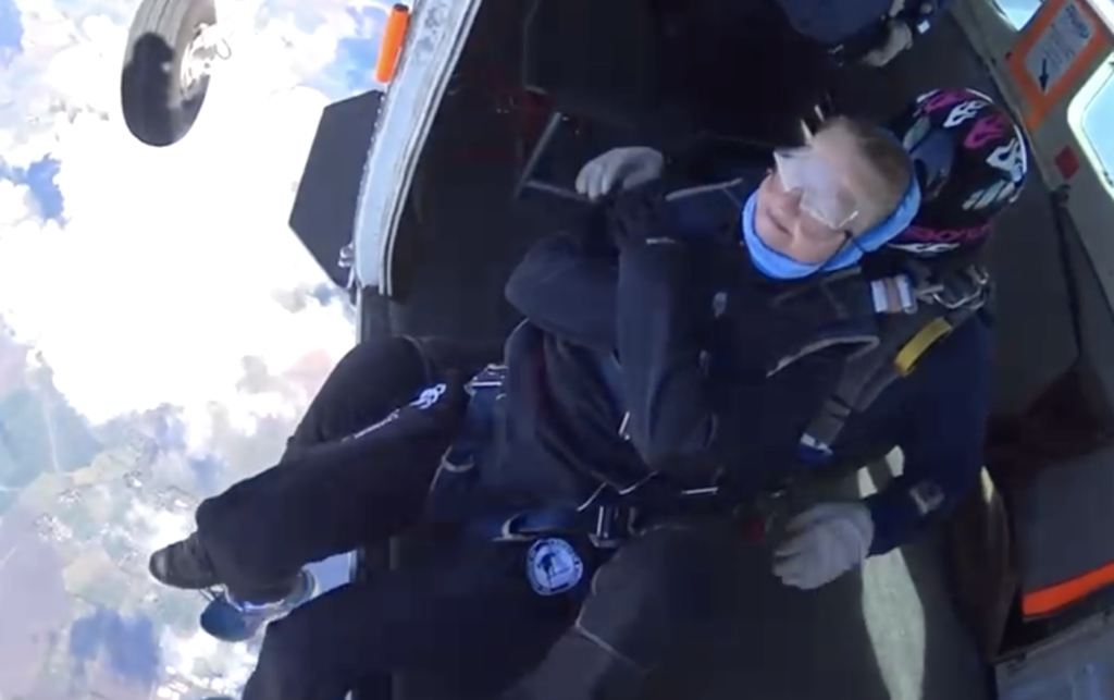 Kerri Arlando gets ready to jump out of a plane