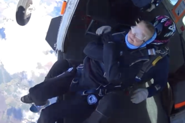 Kesteven Kerri Arlando gets ready to jump out of a plane